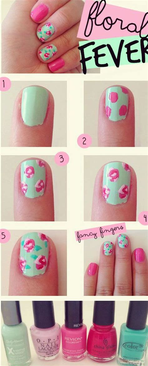 tutorial floral design 25 easy step by step nail tutorials for girls pretty designs