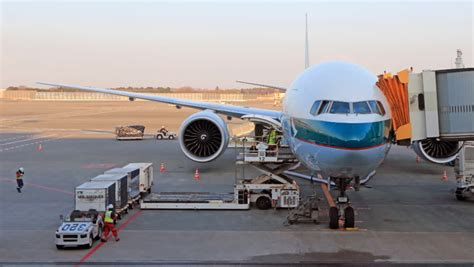 load and unload cargo to airplane for air freight logistic stock footage 8412646