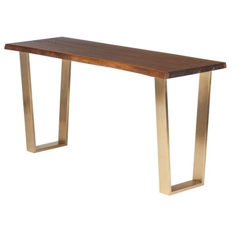 brown console table brown oak gold legs console table