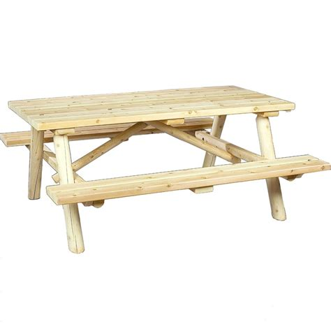 Cedar Log Picnic Table In Patio Dining Tables Picnic Table Dining Table