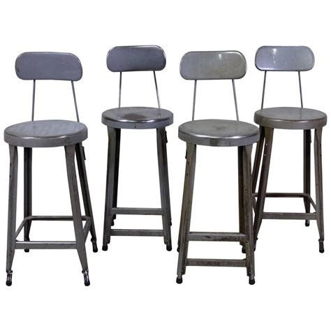 Counter Height Bar Stools Set Of 4 Set Of Four Counter Height Industrial Stools At 1stdibs