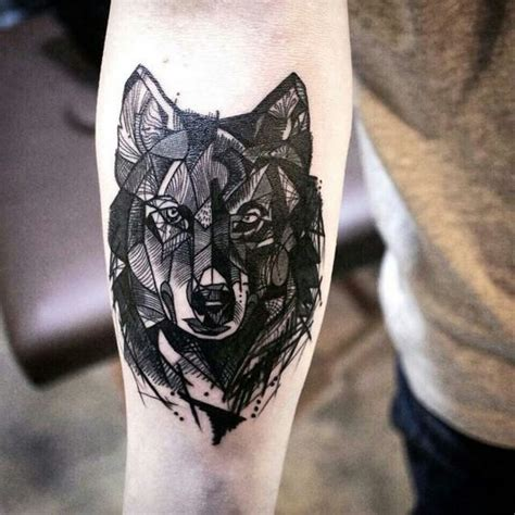 medium sized tattoos blackwork style medium size forearm of wolf