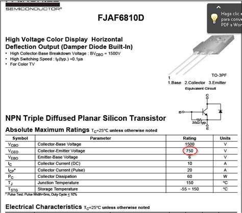 datasheet transistor horisontal solucionado reemplazo transistor horizontal jaf6810 yoreparo