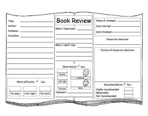 Pics For Gt Book Review Template For Kids Picture Book Template Pdf