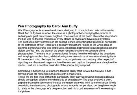 Carol Duffy Essay by War Photographer Carol Duffy Es