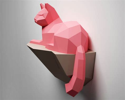 3d pattern paper etsy papercraft cat on rock wall construction 3d paper craft