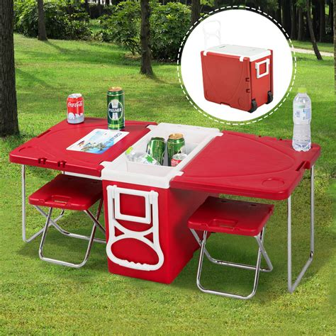 Cooler Picnic Table by Multi Function Rolling Cooler Picnic Table W 2 Chairs