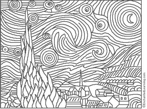 printable paint by numbers van gogh van gogh starry night coloring page enchantedlearning com