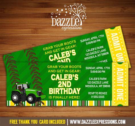 free printable john deere thank you cards printable john deere tractor ticket birthday invitation
