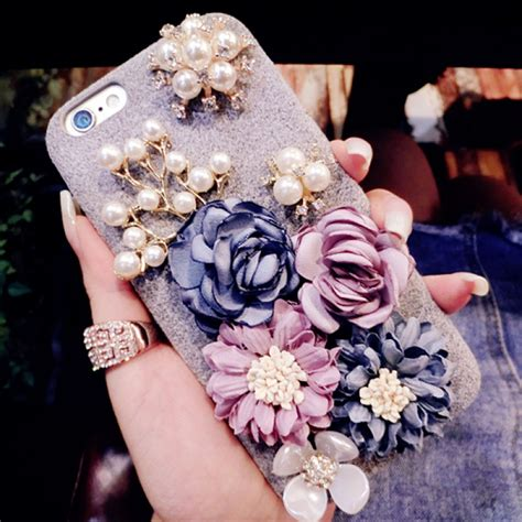 Flower Iphone 3d 1 glitter 3d pearl rhinestone flower soft silicone for iphone 8 plus 7 plus 5 5 inch