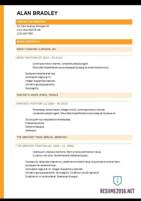 top resume format free best resume template 2017 learnhowtoloseweight net