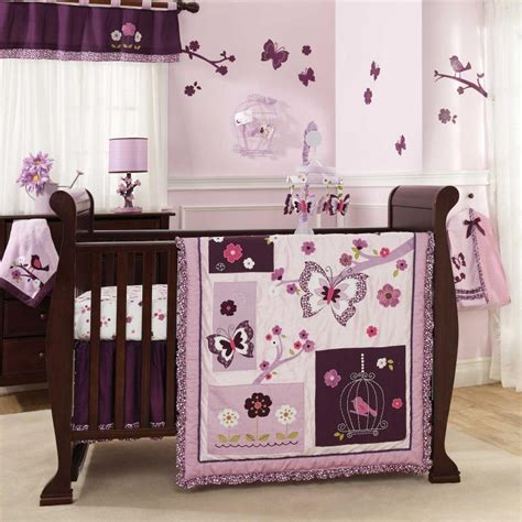 purple butterfly crib bedding lambs ivy 7 piece baby crib bedding set plumberry
