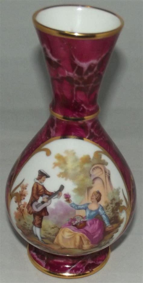 porcelain d rp of limoge burgundy marble vase