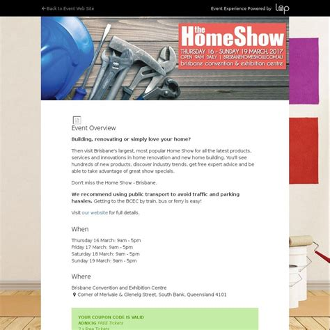 brisbane home show free tickets for two ozbargain