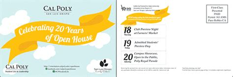 cal poly open house cal poly slo open house poster postcard design on behance