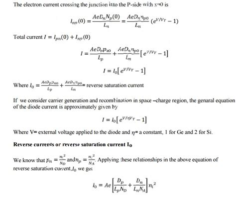 p n junction diode current equation derivation quantitative theory of p n diode currents study material lecturing notes assignment reference