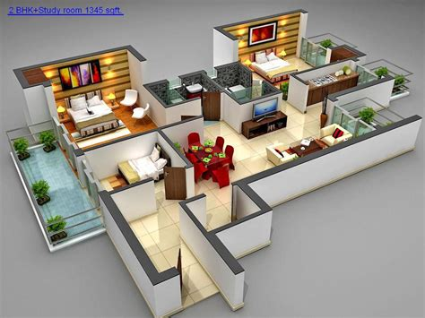 3 bedroom house plans 3d design 3 artdreamshome plan houses type 45 one floor 3 bedrooms house design