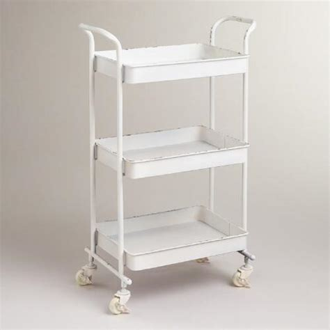 rolling bathroom storage cart white austin 3 tier metal cart world market