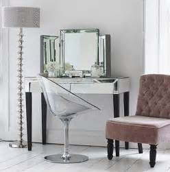 Makeup Vanity With Mirror And Chair Adding Shine With Mirrored Furniture