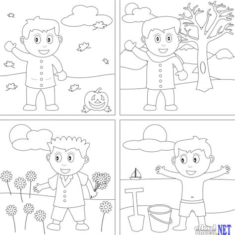 seasons tree coloring page free four seasons tree coloring pages