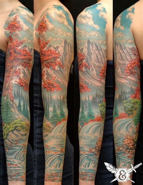 nature tattoo sleeve landscape sleeve lovely tattoos parlour