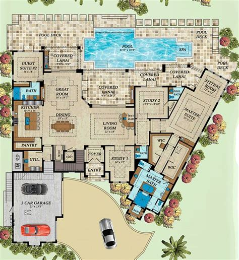 florida house plans with courtyard pool coastal florida mediterranean house plan 71543 house