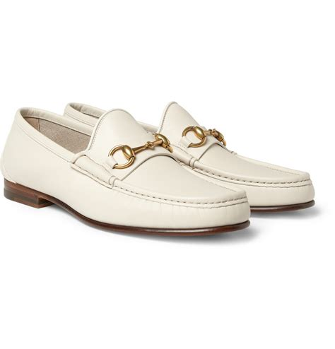 white leather loafers mens gucci horsebit leather loafers in white for lyst