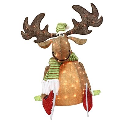 lighted outdoor christmas moose living 36 in lighted moose outdoor decoration lowe s canada