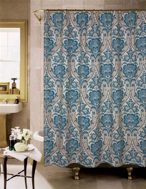 blue and tan shower curtain lyndhurst blue and tan floral shower curtain