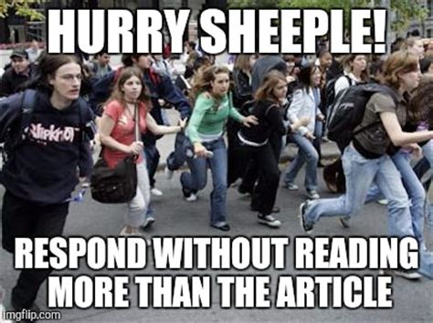 Sheeple Meme - crowd running imgflip