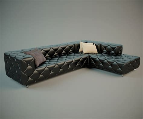 Stylish Leather Sofa 3D Model Free Download   High Poly