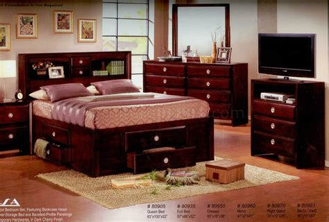 cherry finish modern bedroom w optional casegoods