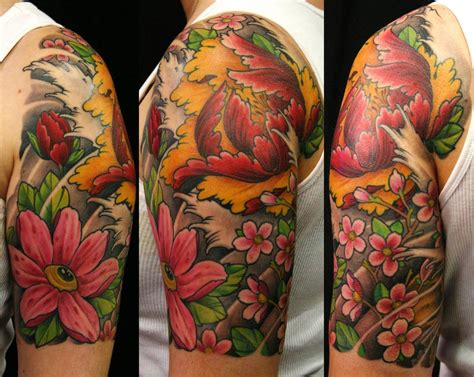 image gallery hawaiian flower sleeve tattoos