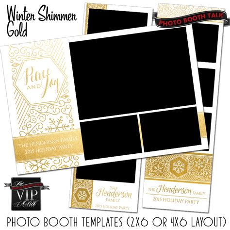 Winter Shimmer Gold Foil Photo Booth Talk 4x6 Photo Booth Templates