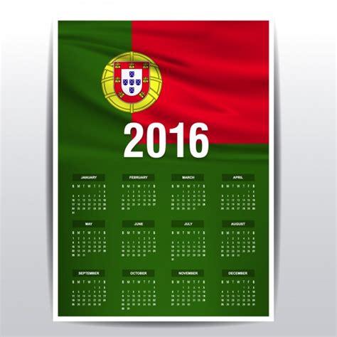 Calendã 2016 Portugal Portugal Calendar Of 2016 Vector Free