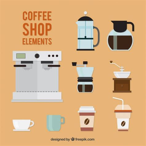 design elements of a coffee shop collection of coffee elements in flat design vector free