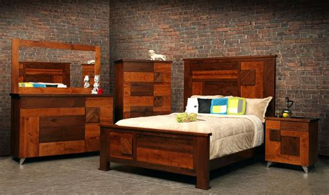 Hand Crafted Arial Fields Modern Walnut Cherry Bedroom Bed And Dresser Set