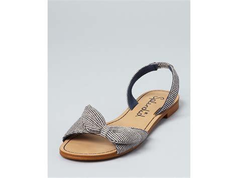 bow flat shoes splendid sandals cancun bow flat in brown denim canvas