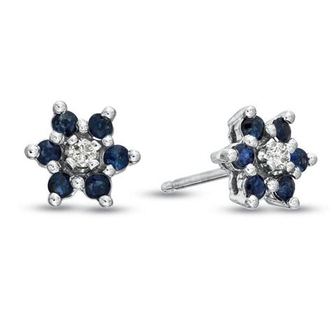 Blue Flower Stud Earrings Gold blue sapphire and accent flower stud earrings in