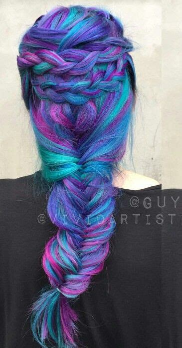 mixed hair colors purple blue mixed braided dyed hair color inspiration