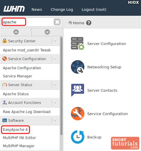 tutorial web host manager select easyapache