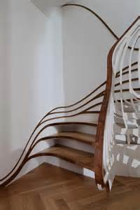 Stylish curved staircase with organic form home building furniture