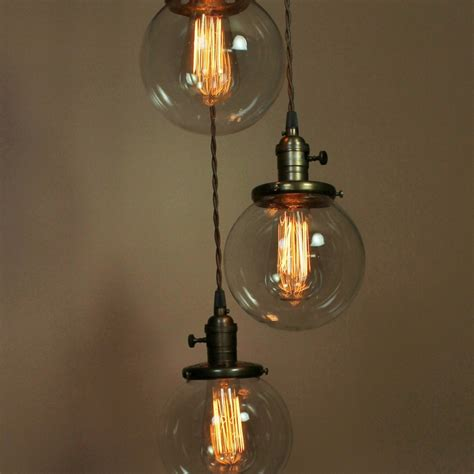 Pendant Light Bulb Socket Chandelier Lighting Pendant Lights W 6 Inch Clear Glass Globes Edison Light Bulbs