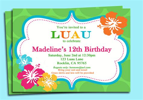 free printable birthday invitations luau luau invitation printable personalized for your by