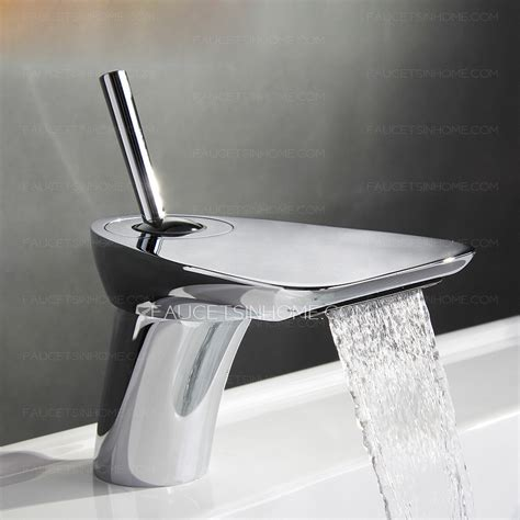 cool bathroom faucets cool rocker shaped handle sector waterfall bathroom faucet