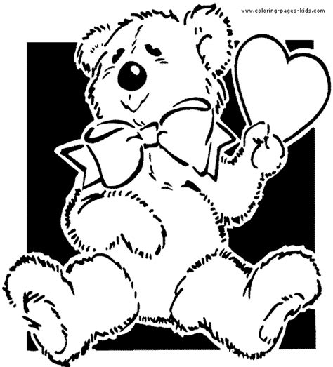 free teddy bear with heart coloring pages