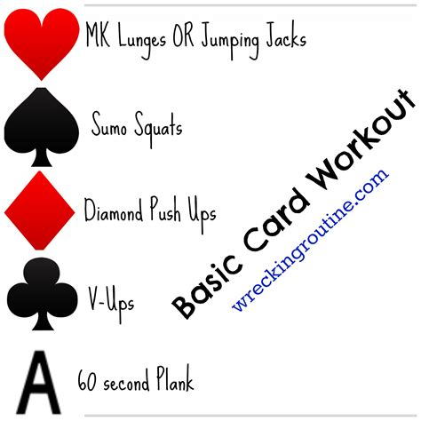 printable deck of cards workout basic card workout wrecking routine