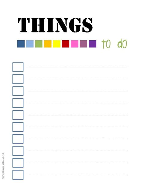 To Do List Template Things To Do List Template