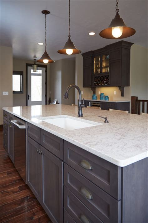 Houzz Kitchens With Islands hanstone quartz countertop in quot indian pearl quot modern