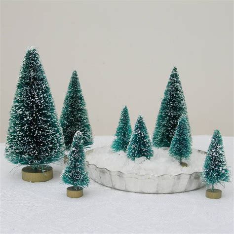 eight green bottlebrush christmas trees by just add a